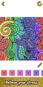 screenshot of Adult Glitter Color by Number Book - Sandbox Pages version 1.18