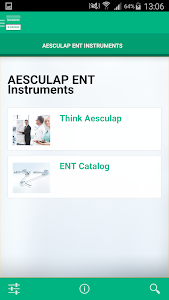 screenshot of AESCULAP ENT Instruments version 1.1.2