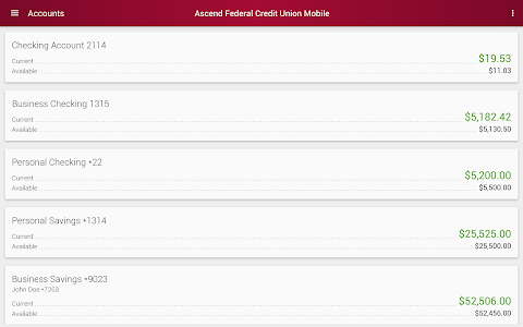 screenshot of Ascend Federal Credit Union version 6.2.3.0