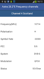 screenshot of Astra 28°E Frequency Channels version 2.3