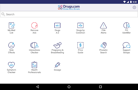 screenshot of Drugs.com Medication Guide version Varies with device