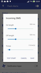 screenshot of Flash Alerts on Call and SMS & Flash Notification version 2.1.6