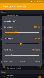 screenshot of Flash on Call and SMS version 5.1.2