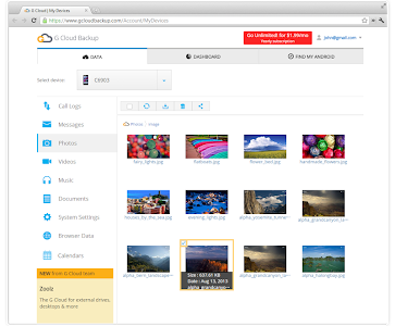 screenshot of G Cloud Backup version Varies with device