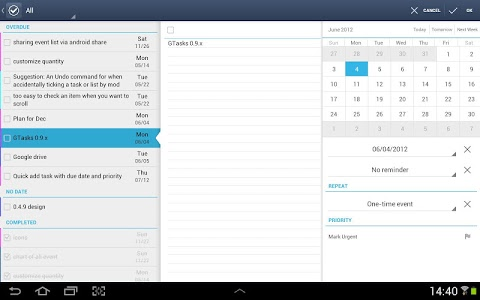 screenshot of GTasks: Todo List & Task List version Varies with device