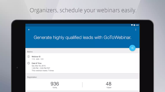 screenshot of GoToWebinar version 3.2.1