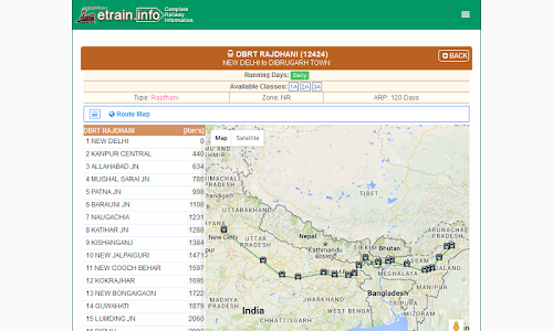 screenshot of Indian Railways @etrain.info version Varies with device