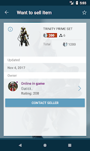 screenshot of Market for Warframe - warframe.market version 1.28