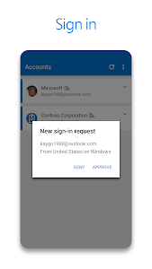 screenshot of Microsoft Authenticator version Varies with device