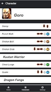 screenshot of Moves Guide for MK X / XL version 0.0.3
