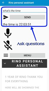 screenshot of Rino personal assistant version 19.19