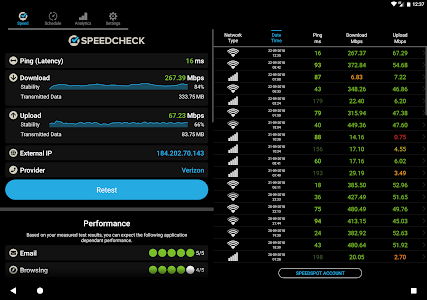 screenshot of SPEEDCHECK - Speed Test version 5.1.4.6