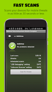 screenshot of Webroot Mobile Security & Antivirus version 5.5.5.38499