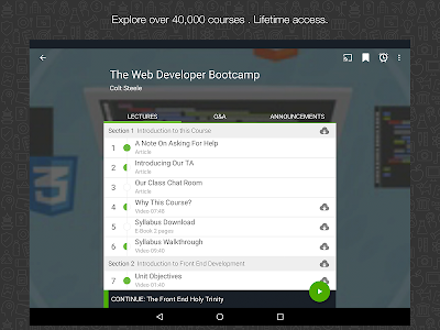 screenshot of Udemy Online Courses version 3.0.0
