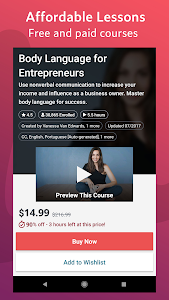 screenshot of Udemy - Online Courses version 5.5.2