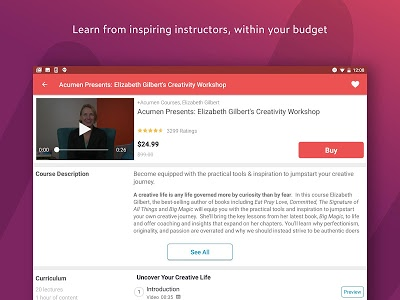 screenshot of Udemy - Online Courses version 4.4.0