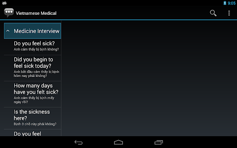 screenshot of Vietnamese Medical Phrases - Works offline version 1.8.5