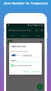 screenshot of WhatsChat To Unsaved Number For WhatsApp version 1.03